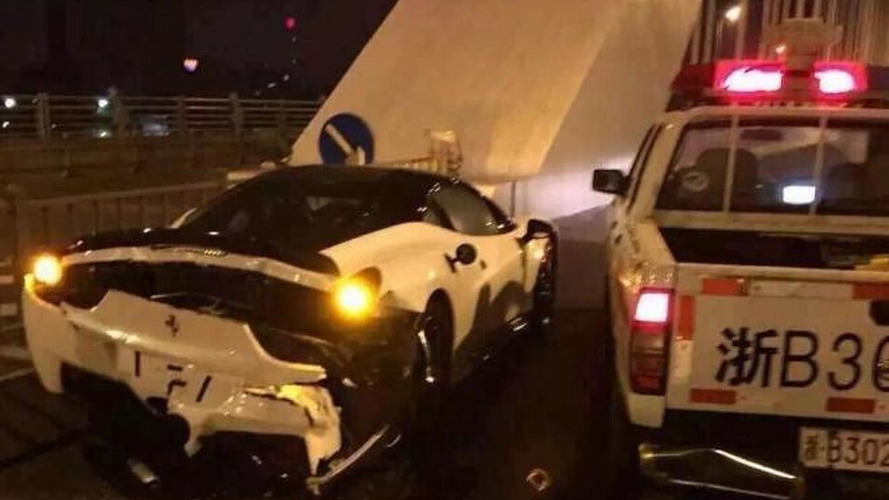 Nissan police pickup truck rear ends Ferrari 458 during pursuit