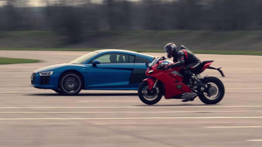 ¿Qué acelera más? Audi R8 2018 vs. Ducati Panigale V4