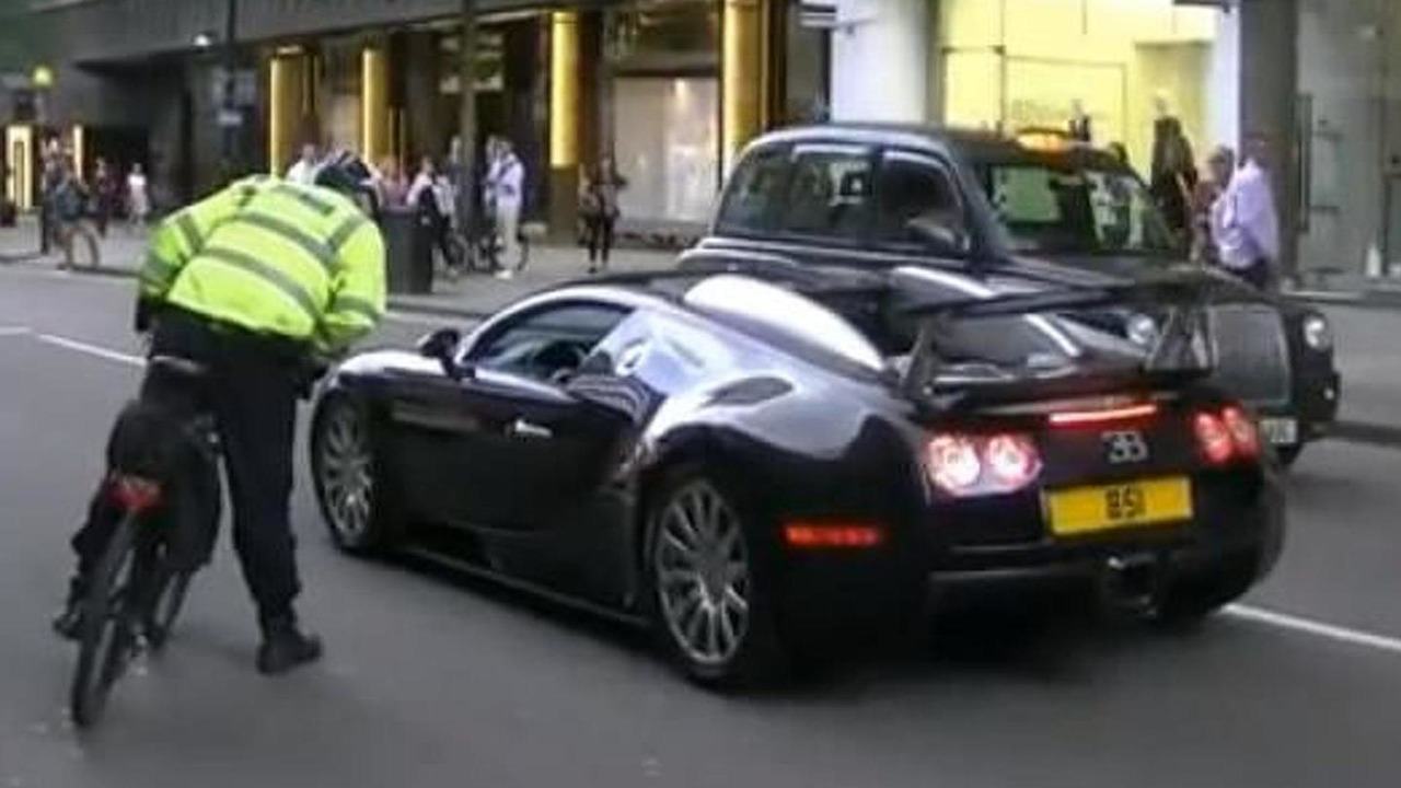 Bugatti Veyron pulled over by bicycle cop