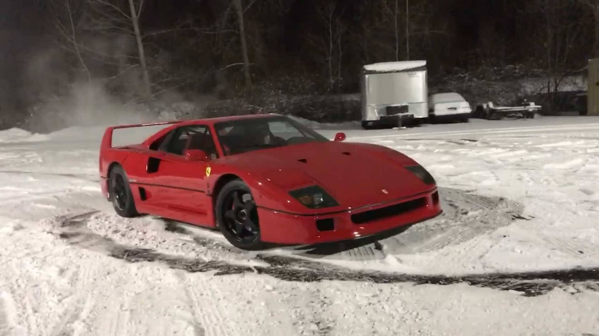 Watching A Ferrari F40 Spin Slo-Mo Donuts Is Very Zen