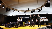 Jolyon Palmer, Kevin Magnussen and Esteban Ocon, Renault F1 Team tests driver with Carlos Ghosn, Renault President and Frederic Vasseur, team manager Renault Sport F1 team