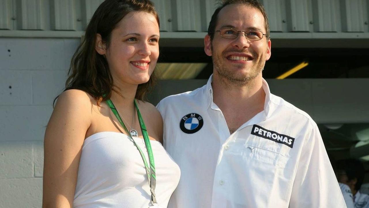 Jacques Villeneuve with his new wife Johanna, British Grand Prix 08.06.2006
