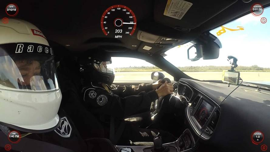 Watch The Dodge Challenger Demon Go Sailing Past 200 MPH
