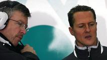 Ross Brawn (GBR) Team Principal, Michael Schumacher (GER), Mercedes GP, 03.02.2010 Valencia, Spain