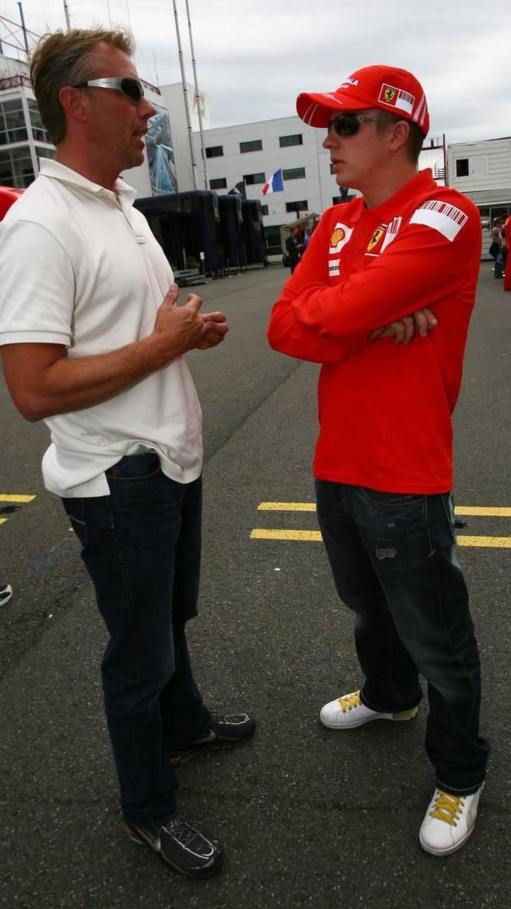 J.J Lehto (FIN), Former Grand Prix driver and Kimi Raikkonen (FIN), Scuderia Ferrari, French Grand Prix,