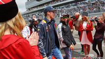 Daniil Kvyat, Red Bull Racing with Sergio Perez, Sahara Force India F1 on the drivers parade