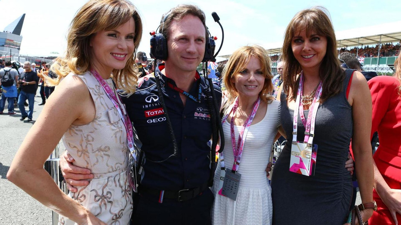 Christian Horner (GBR) Red Bull Racing Team Principal with Amanda Holden (GBR) (Left), Geri Halliwell (GBR) Singer and Carol Vordermann (GBR) on the grid