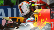Max Verstappen celebrates in parc ferme with Sebastian Vettel