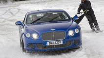 Bentley Continental GT pulls ski joring champion Franco Moro at Gstaad 2012 07.02.2012