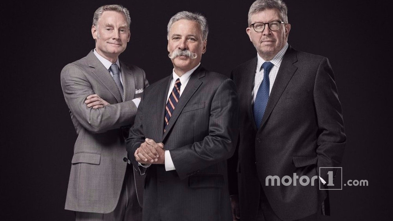 Sean Bratches, Managing Director, Commercial Operations; Chase Carey, Chairman and CEO of Formula 1; Ross Brawn, Managing Director, Motor Sports