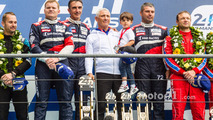 LMGT Am podium: class winners #72 SMP Racing Ferrari 458 GTE: Andrea Bertolini, Viktor Shaitar, Alexey Basov with SMP owner Boris Rotenberg