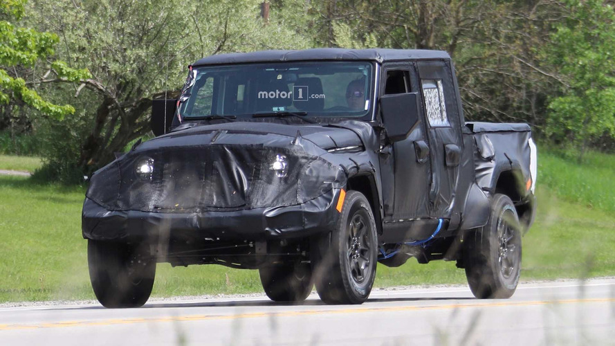 Jeep Wrangler Pickup Spied Up Close Riding High