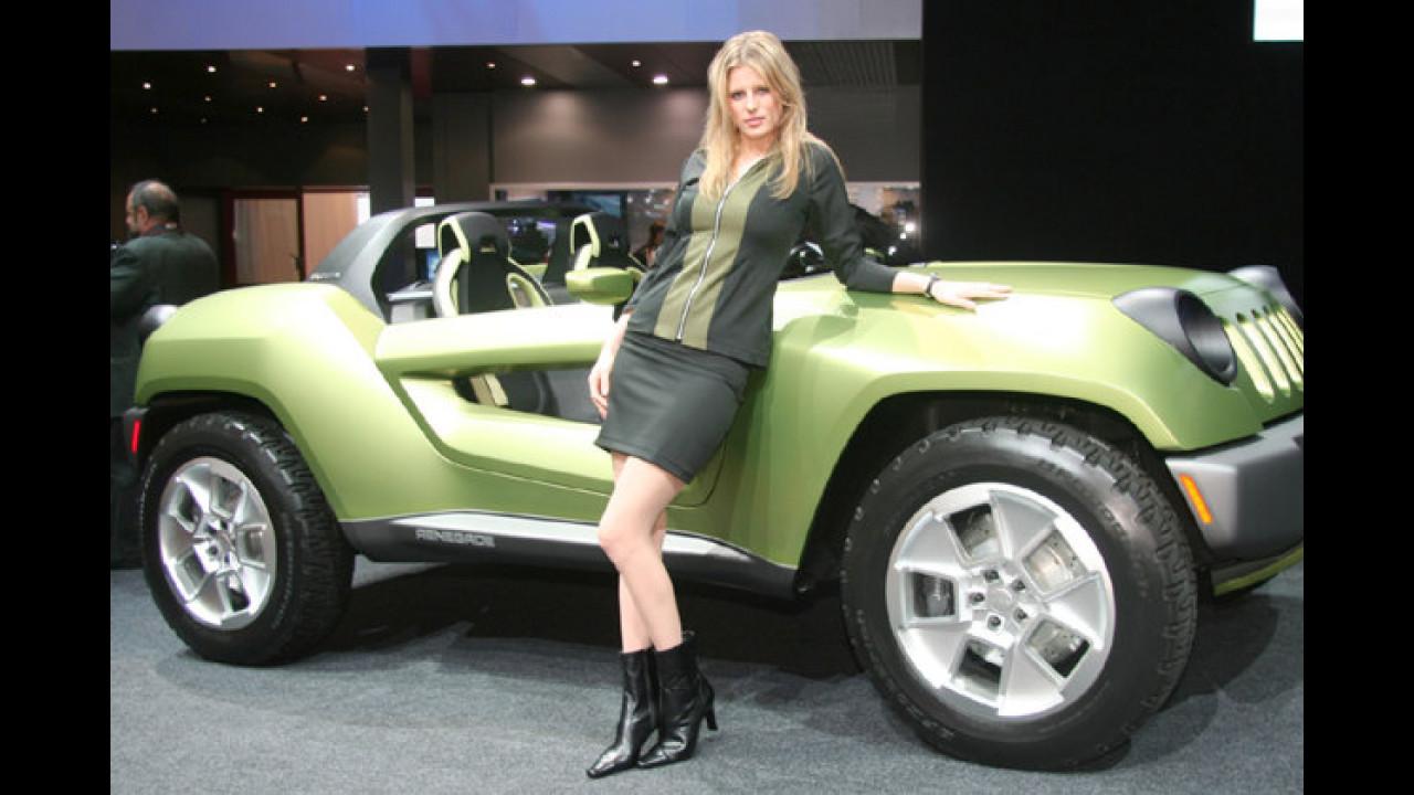 Die lässige Lucy lehnt am lindgrünen Lastwagen
