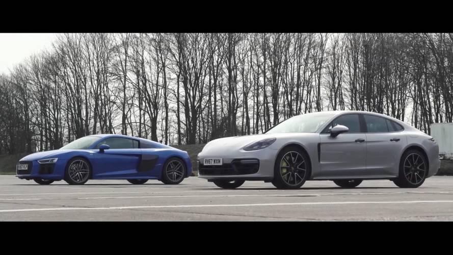 Porsche Panamera Turbo S E-Hybrid, Audi R8 ile yarışırsa ne olur?