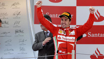 Fernando Alonso celebrates winning 2013 Spanish Grand Prix