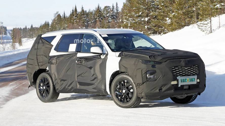 8-Seat Hyundai SUV Makes 18-Inch Wheels Look Small In Spy Shots