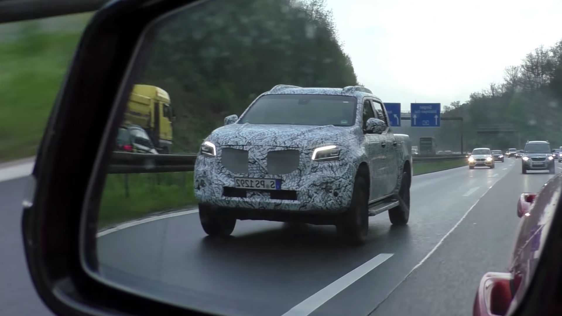 Mercedes x class pickup prototype chased in germany for Mercedes benz video
