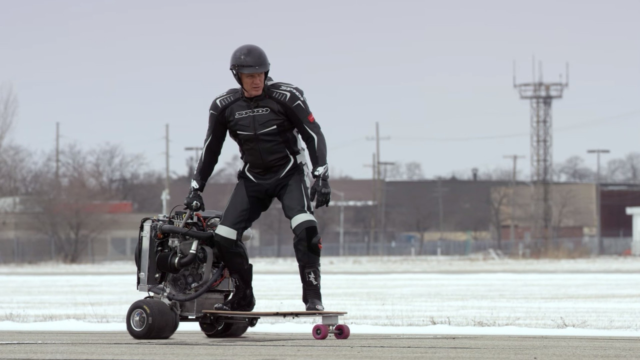 Ford straps EcoBoost engine to skateboard, Dolph Lundgren demonstrates