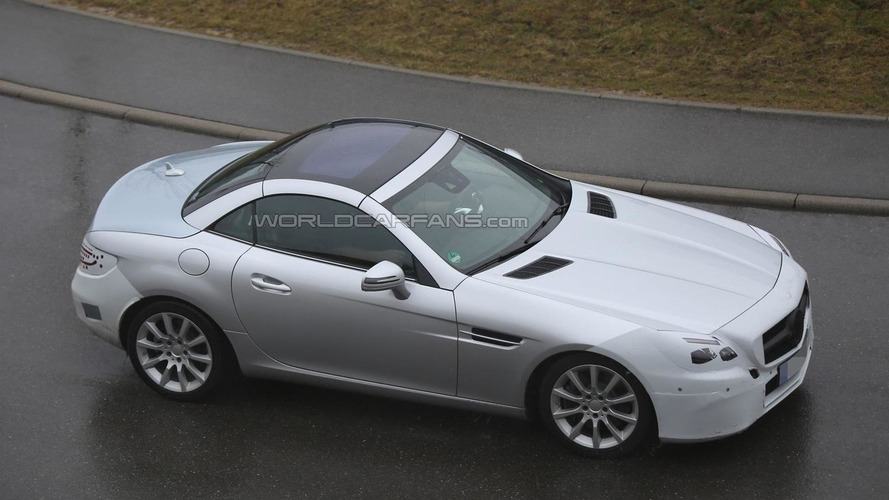 Mercedes-Benz SLC spied on a rainy day