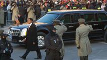 Obama Cadillac presidential limo during Inaugural parade 2009