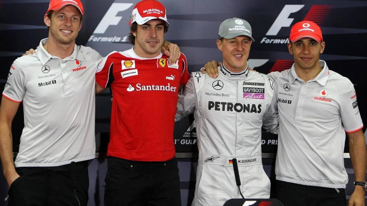 The 4 world champions, Jenson Button (GBR), Fernando Alonso (ESP), Michael Schumacher (GER), Lewis Hamilton (GBR), Formula 1 World Championship, Rd 1, Bahrain Grand Prix, 11.03.2010 Sakhir