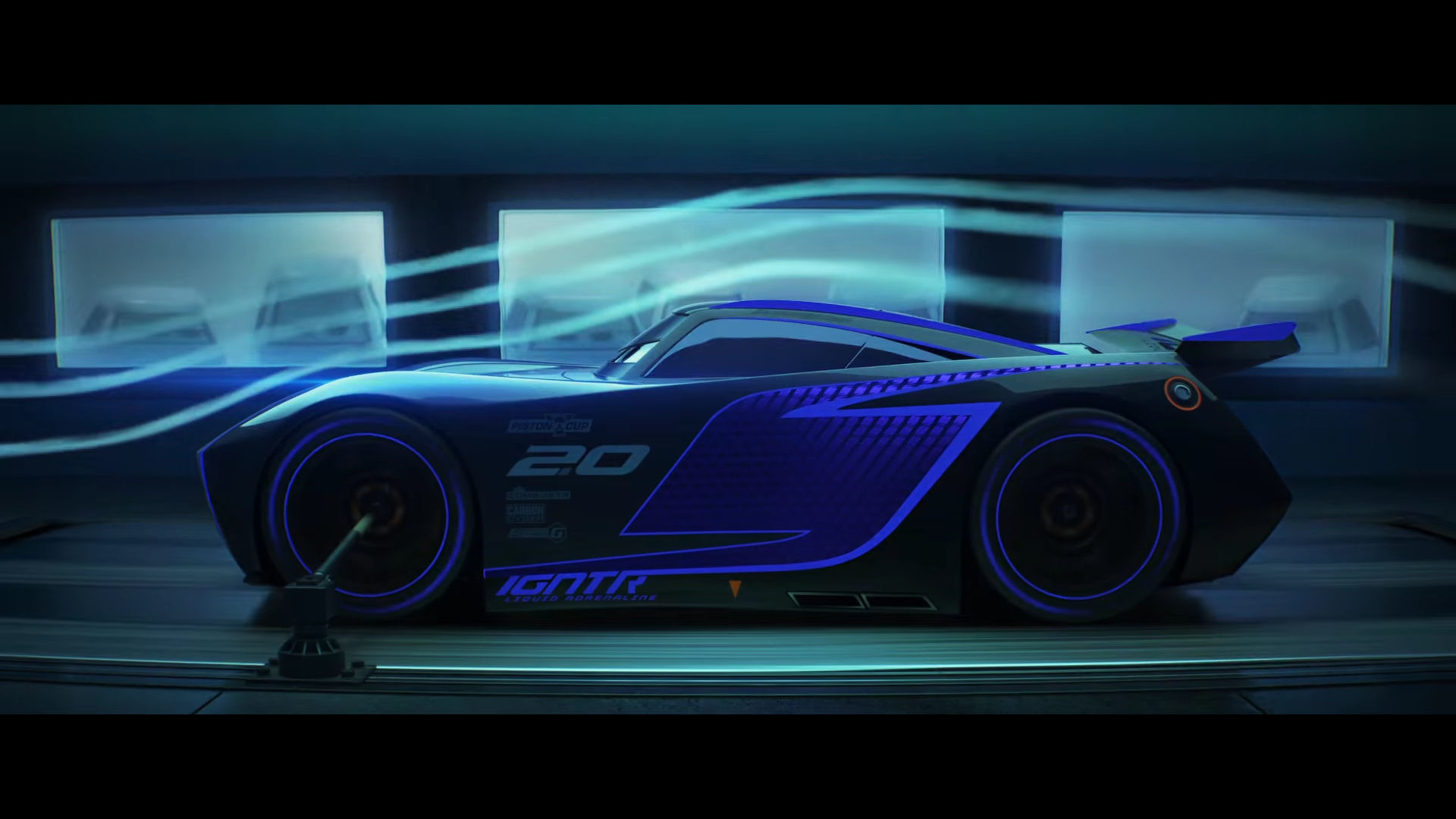 new cars 3 trailer highlights lightning mcqueen 39 s 850 hp rival jackson storm. Black Bedroom Furniture Sets. Home Design Ideas