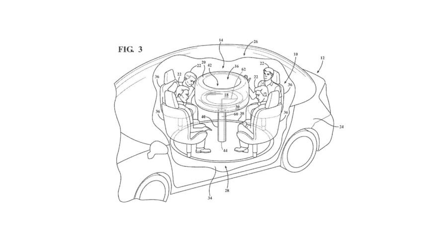Ford Patents Retractable Table With Airbags For Autonomous Cars
