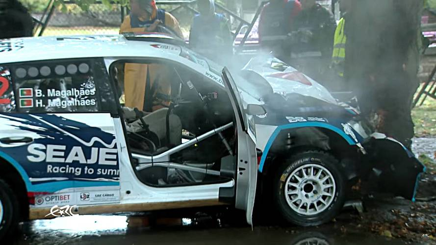 Watch This Skoda Fabia R5 Rally Car Hydroplane To A Brutal Stop