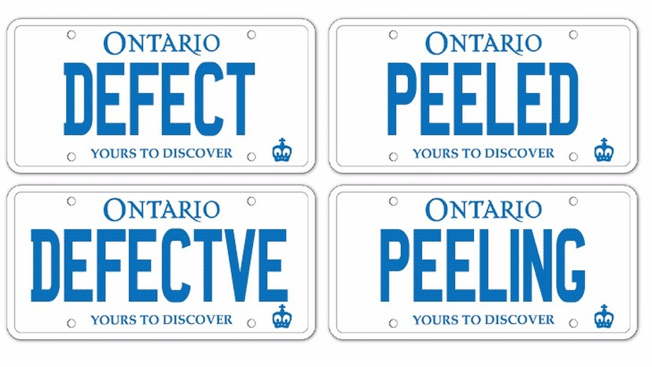 Defective Ontario plates peeling and owners must pay to replace