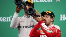 Sebastian Vettel, Ferrari celebrates his second position on the podium