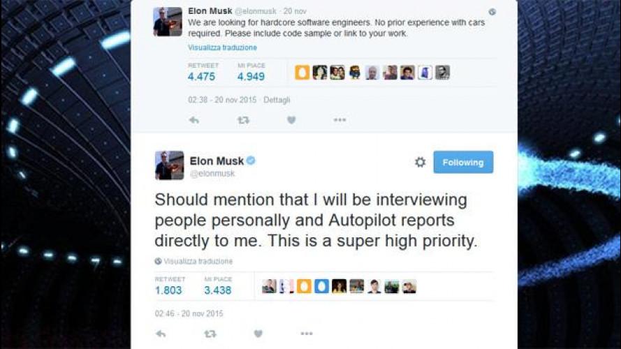 Tesla e guida autonoma, Musk cerca ingegneri tramite Twitter
