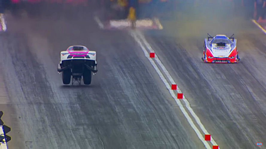 NHRA funny car starts to fly at 250 mph