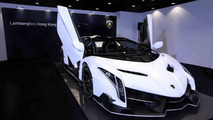 White Veneno Roadster arrives at Lamborghini Hong Kong