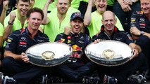 Sebastian Vettel with Christian Horner and Adrian Newey 25.08.2013 Belgian Grand Prix