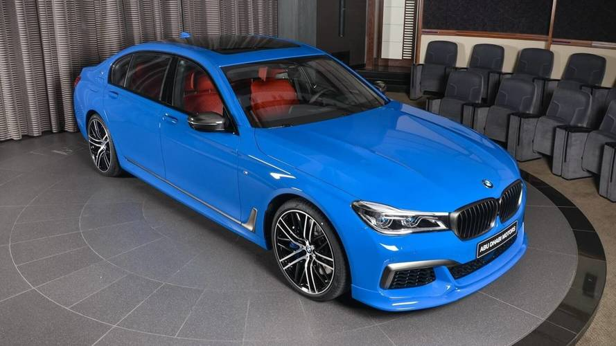 bmw m760li santorini blue with red interior catches the attention. Black Bedroom Furniture Sets. Home Design Ideas