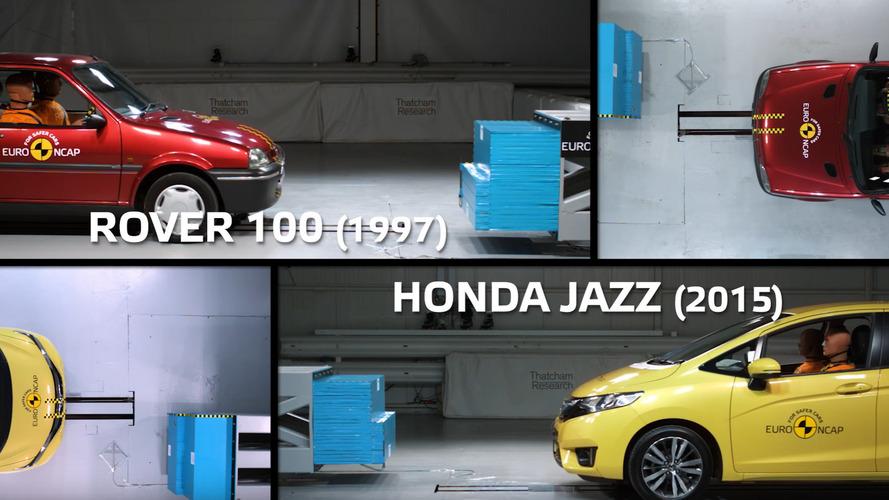 Crash testing 90s car vs modern Honda