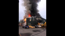 Nissan GT-R shop burns
