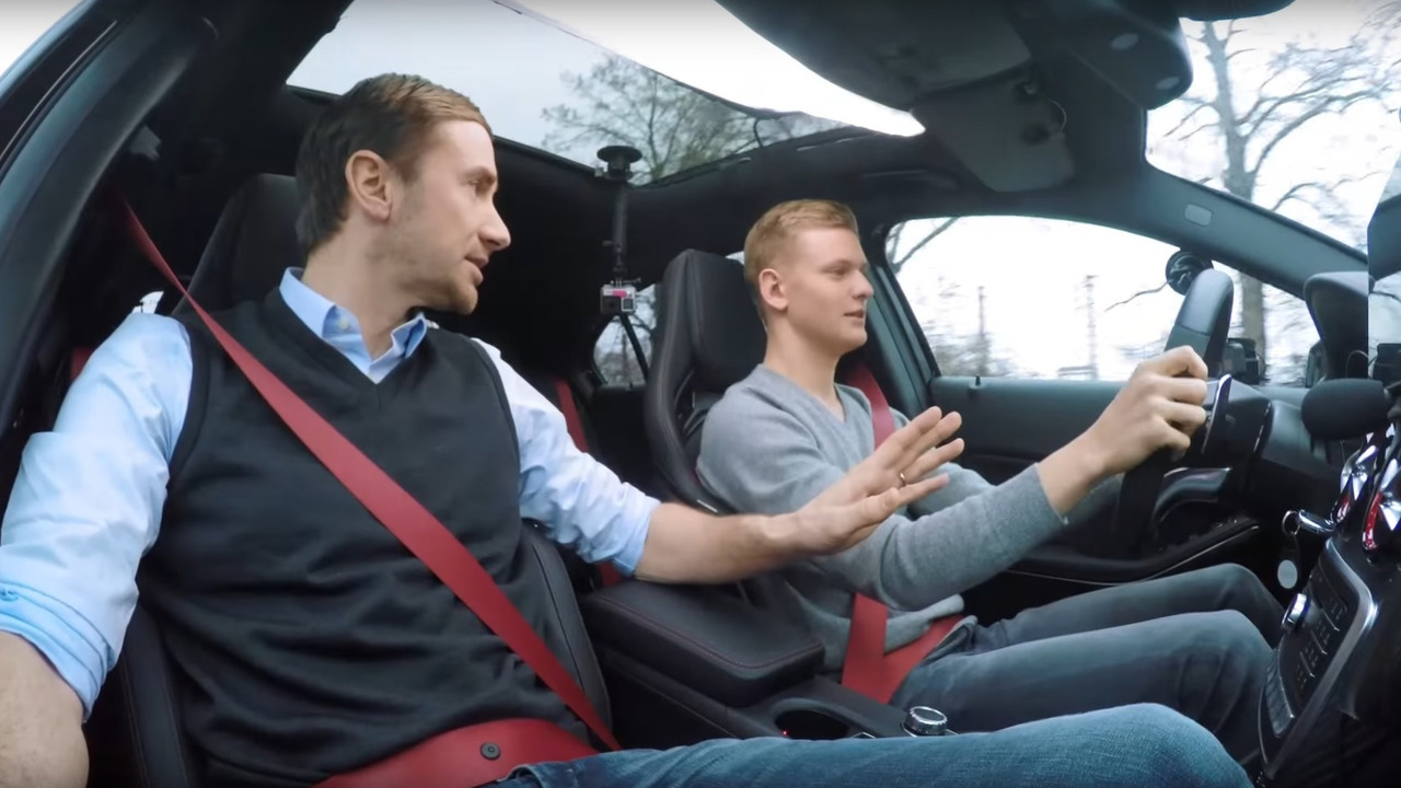 Mick Schumacher learns how to drive in a Mercedes-AMG A45