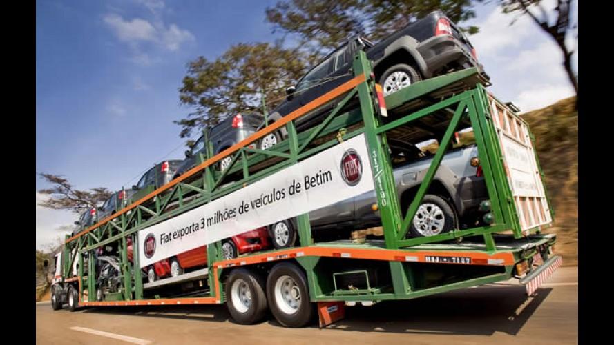 Fiat atinge a marca de 3 milhões de veículos exportados do Brasil