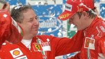 Todt with Ferrari driver Kimi Raikkonen after the last F1 race of 2007